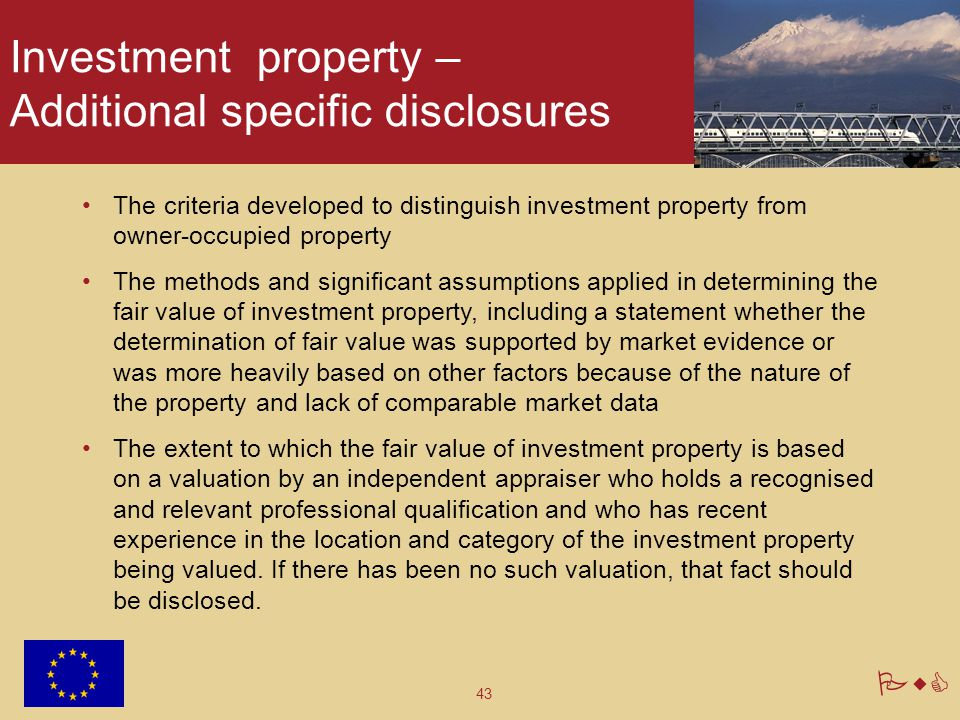 Investment property – Additional specific disclosures