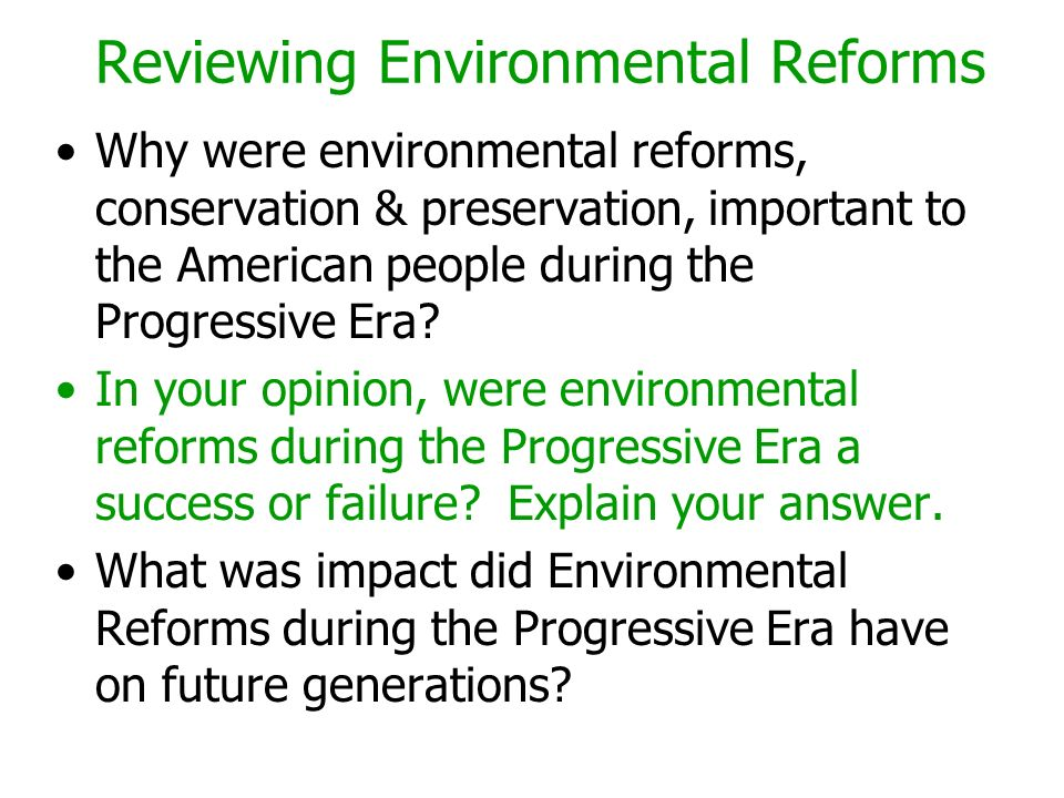 Reviewing Environmental Reforms