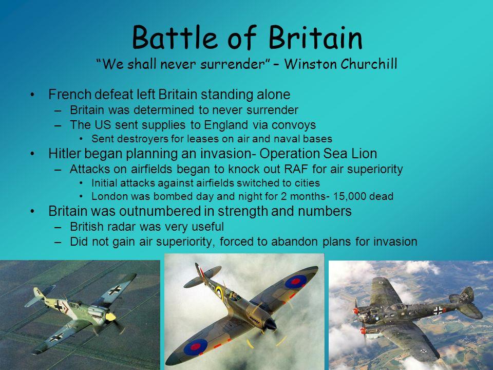 Battle of Britain We shall never surrender – Winston Churchill