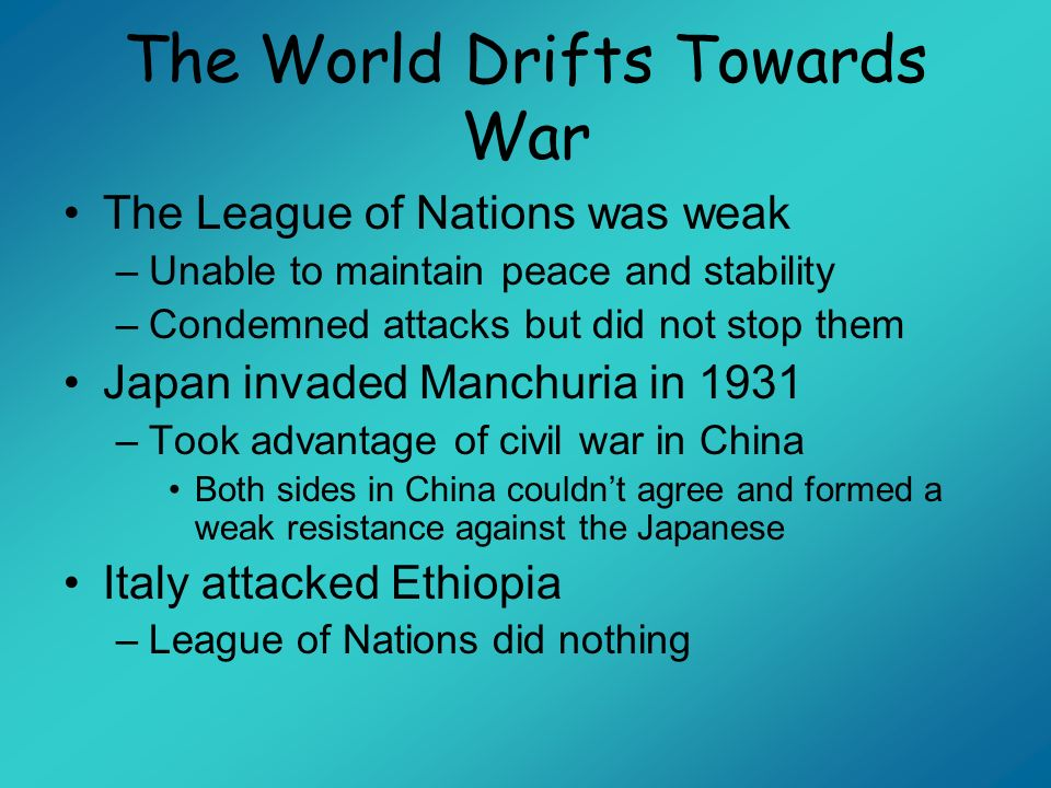The World Drifts Towards War