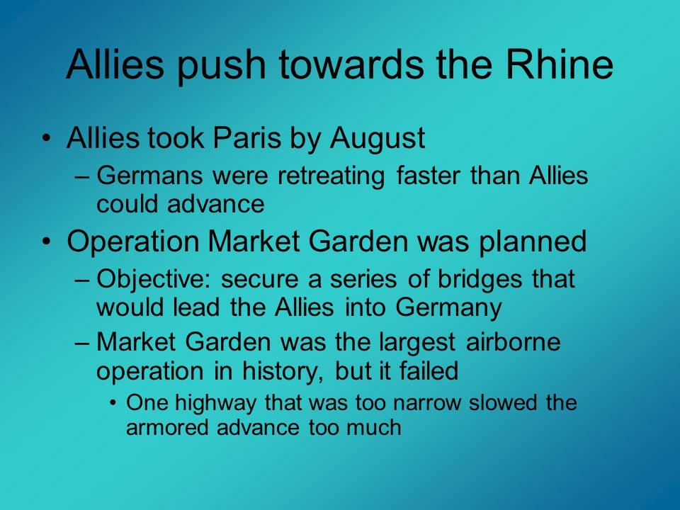 Allies push towards the Rhine