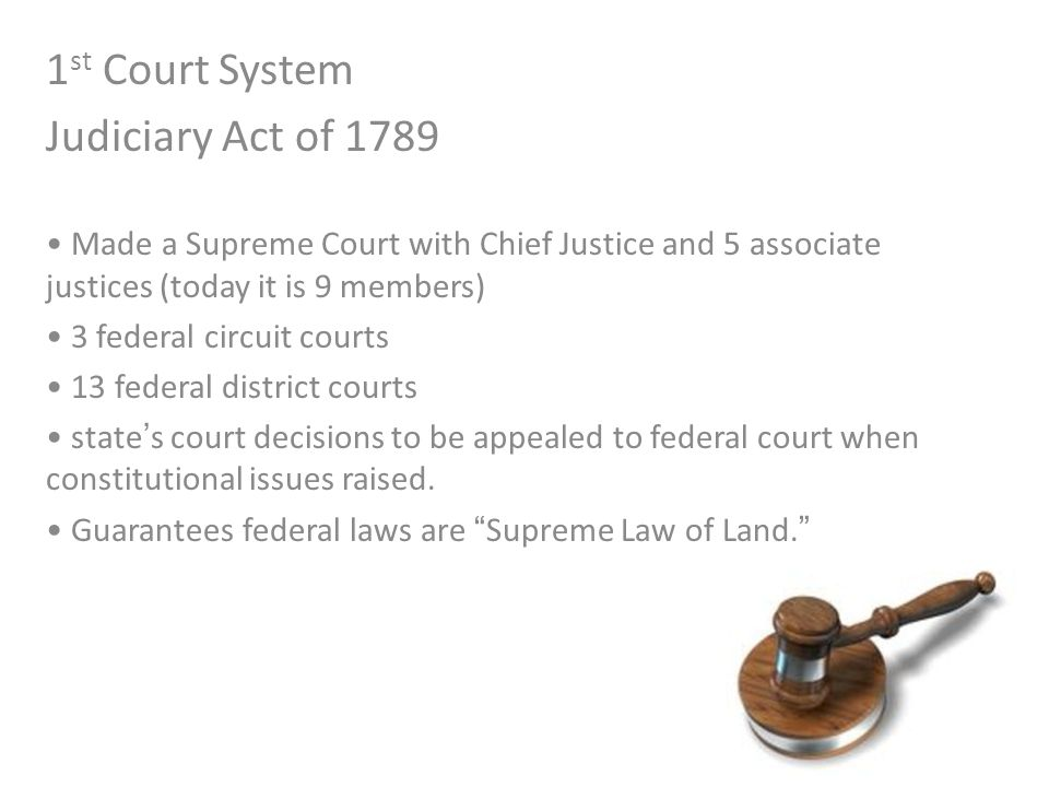 1st Court System Judiciary Act of 1789