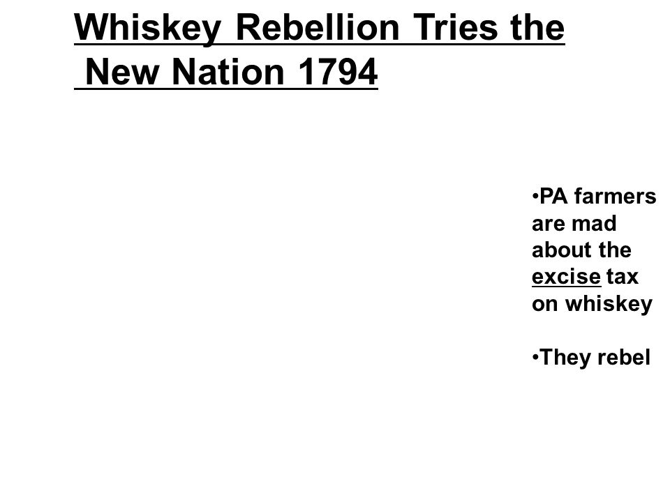 Whiskey Rebellion Tries the New Nation 1794