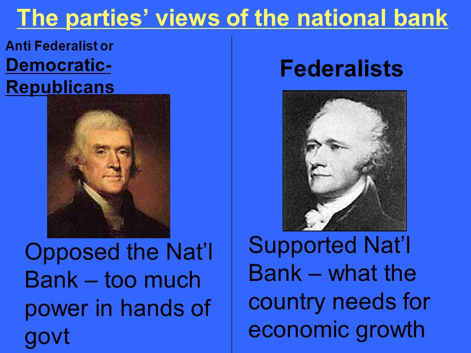 The parties' views of the national bank
