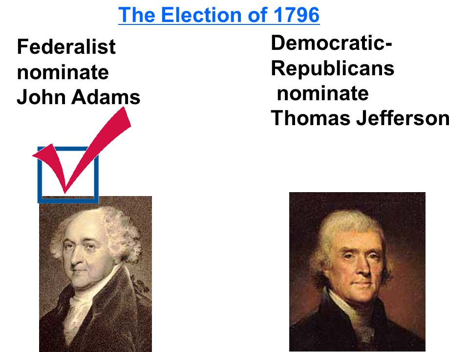 The Election of 1796 Democratic-Republicans. nominate.