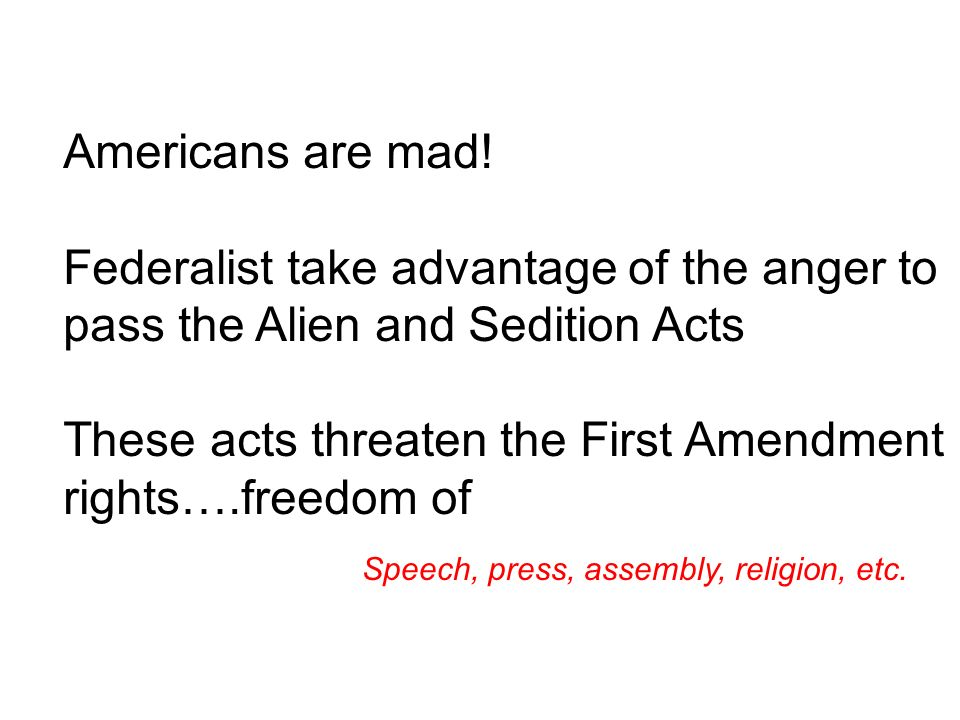 These acts threaten the First Amendment rights….freedom of