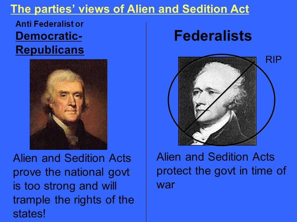 Federalists The parties' views of Alien and Sedition Act