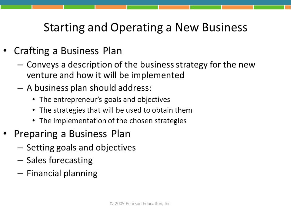 Starting and Operating a New Business