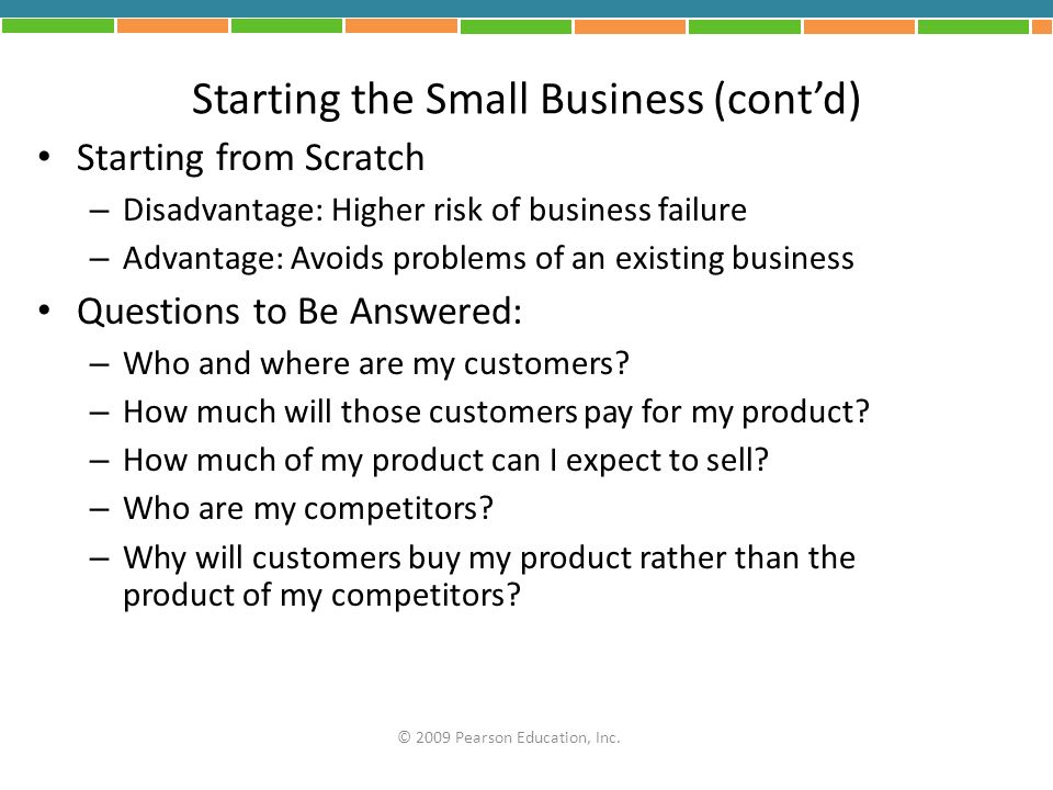 Starting the Small Business (cont'd)