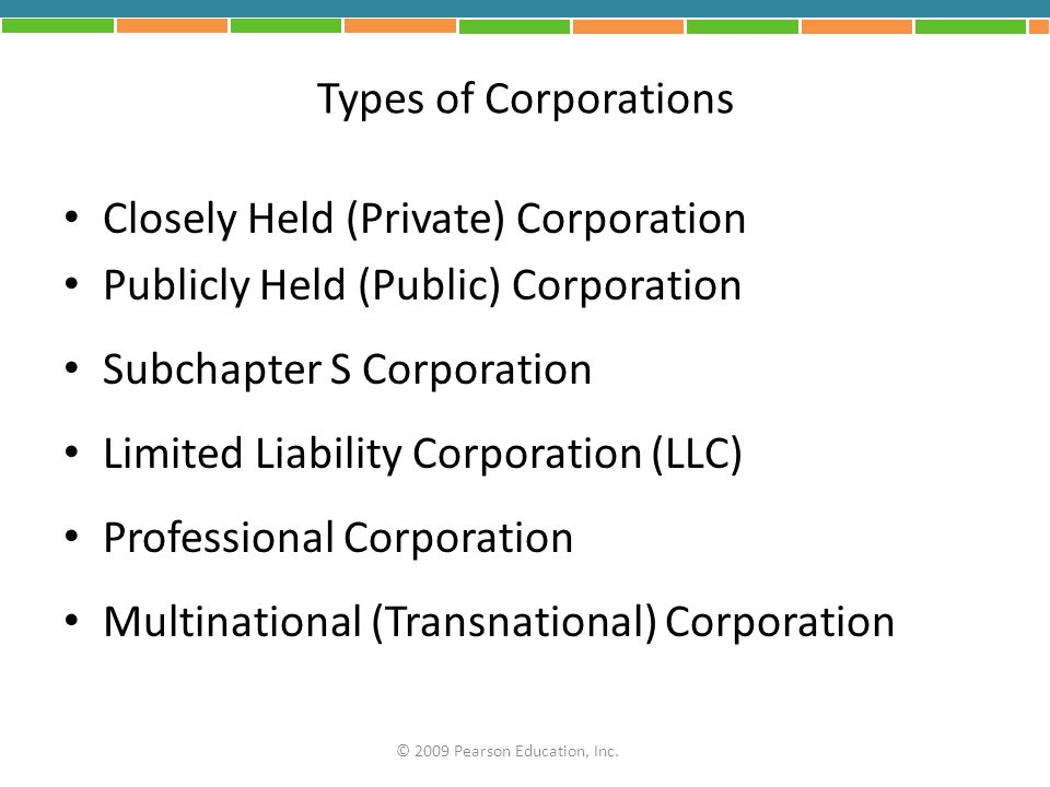 Closely Held (Private) Corporation Publicly Held (Public) Corporation
