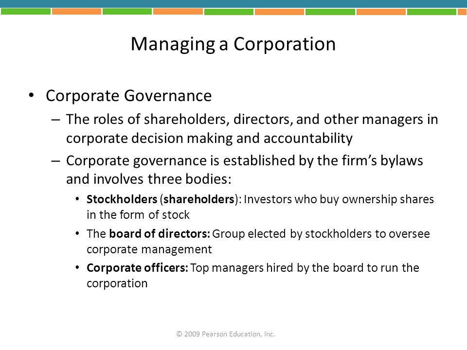 Managing a Corporation