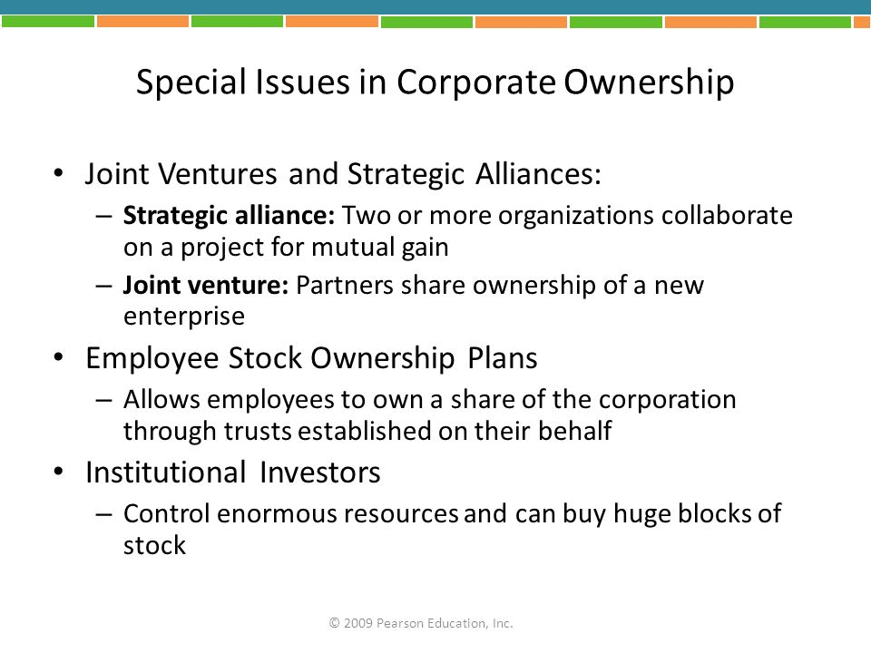 Special Issues in Corporate Ownership