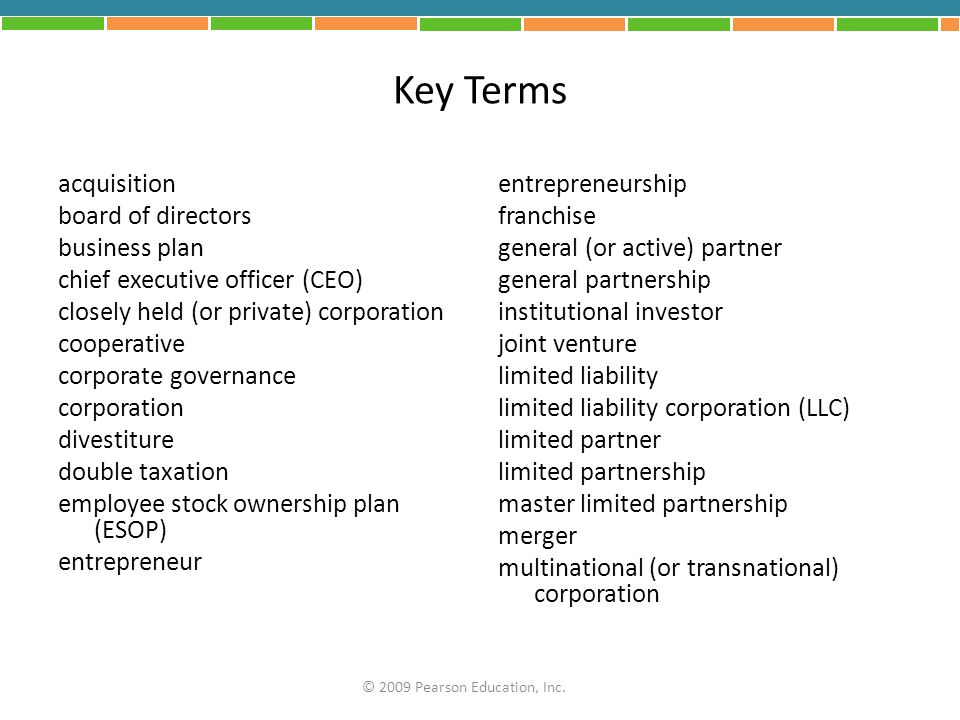 Key Terms acquisition board of directors business plan