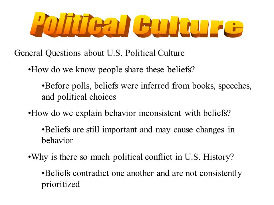 Political Culture General Questions about U.S. Political Culture
