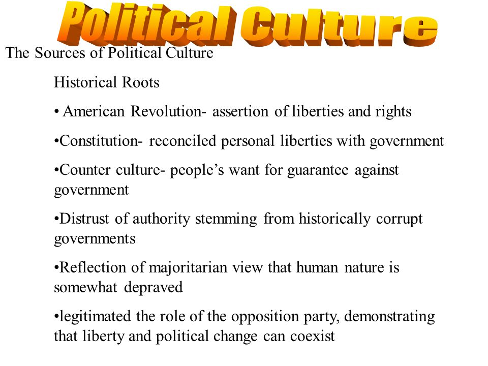 Political Culture The Sources of Political Culture Historical Roots