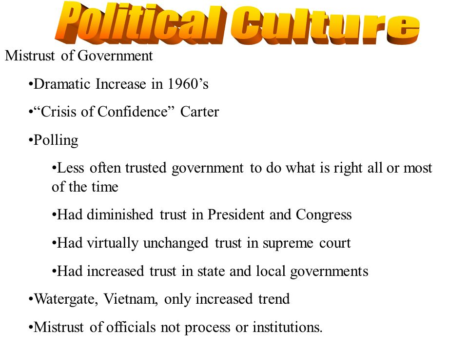 Political Culture Mistrust of Government Dramatic Increase in 1960's