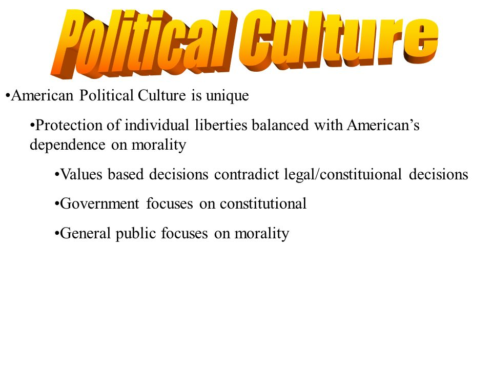 Political Culture American Political Culture is unique