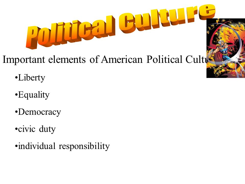 Political Culture Important elements of American Political Culture: