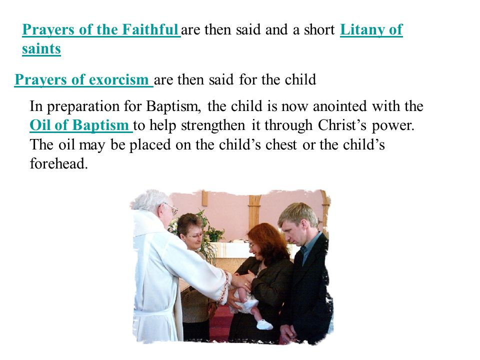 Prayers of the Faithful are then said and a short Litany of saints