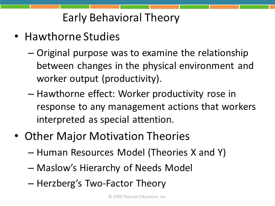 Early Behavioral Theory