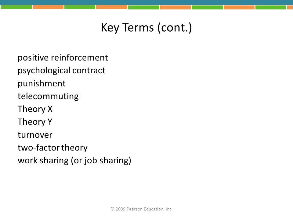 Key Terms (cont.) positive reinforcement psychological contract