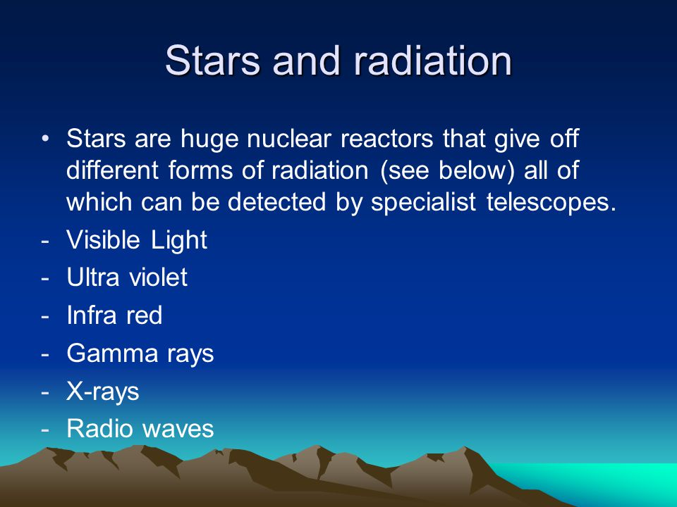 Stars and radiation