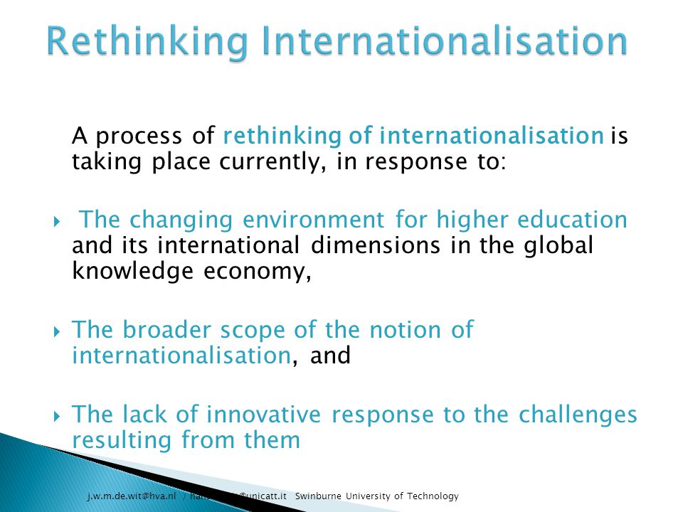 Rethinking Internationalisation