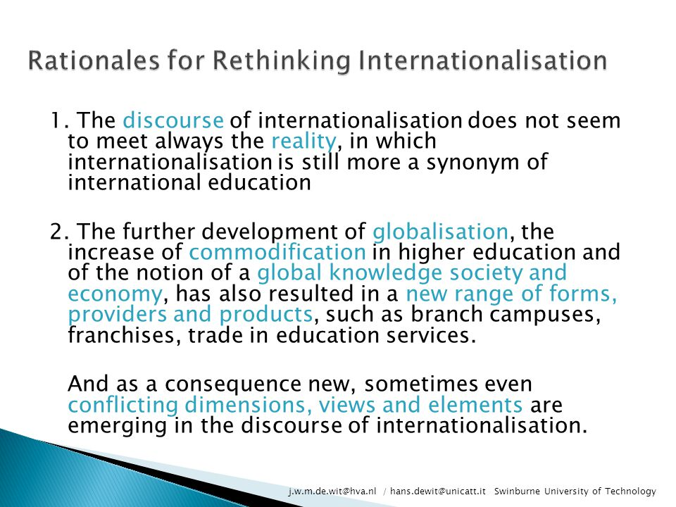 Rationales for Rethinking Internationalisation