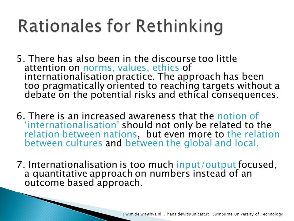 Rationales for Rethinking