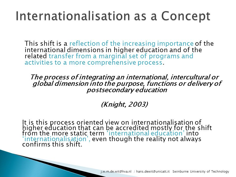 Internationalisation as a Concept