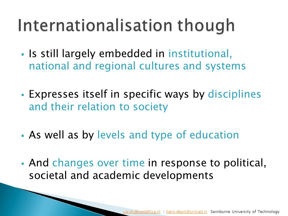 Internationalisation though