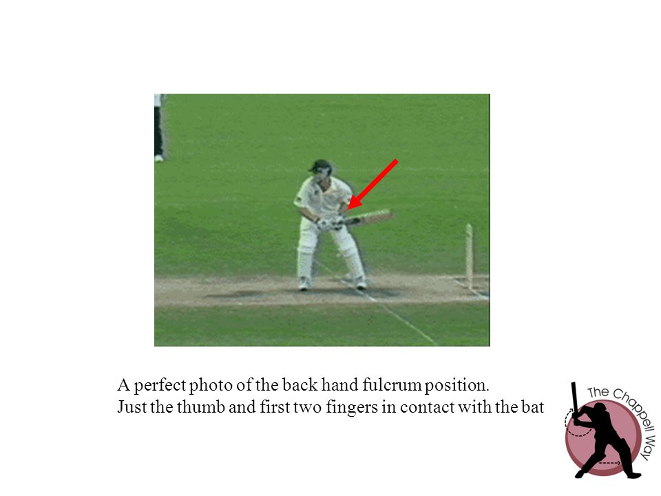 A perfect photo of the back hand fulcrum position.