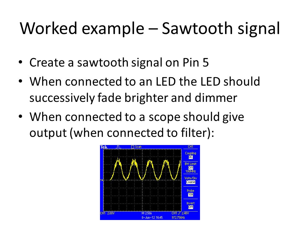 Worked example – Sawtooth signal
