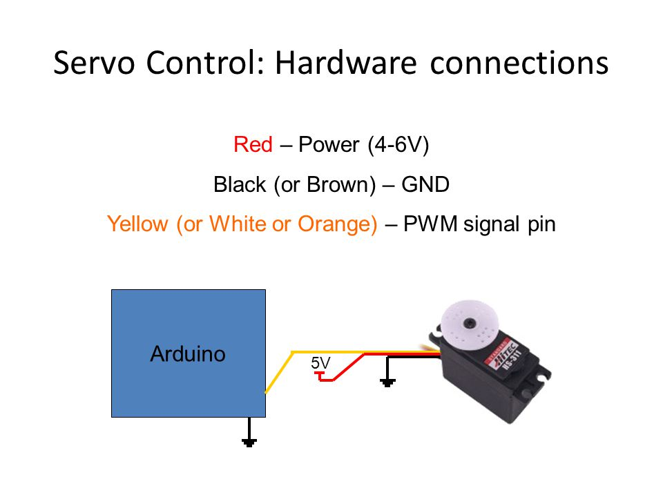 Servo Control: Hardware connections