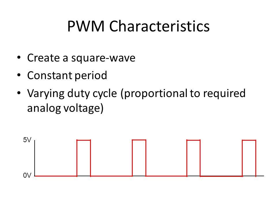 PWM Characteristics Create a square-wave Constant period