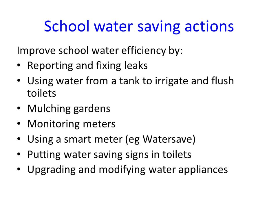 School water saving actions