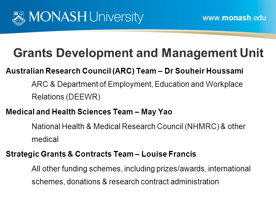 Grants Development and Management Unit