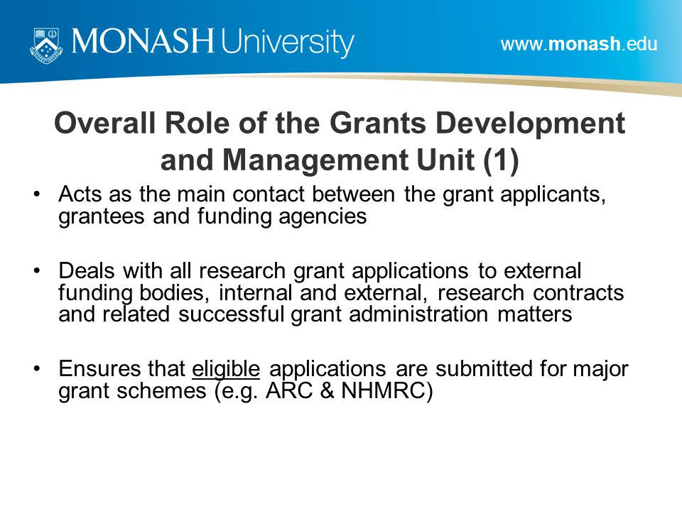 Overall Role of the Grants Development and Management Unit (1)