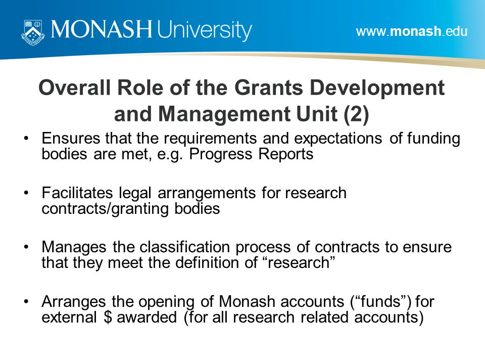 Overall Role of the Grants Development and Management Unit (2)
