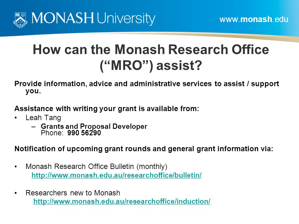 How can the Monash Research Office ( MRO ) assist