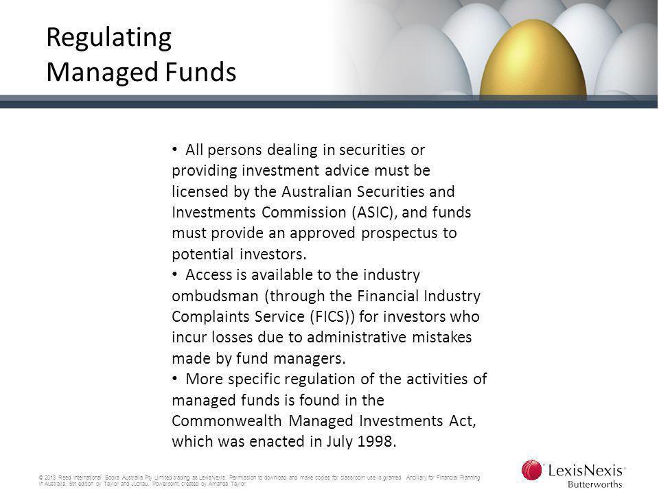 Regulating Managed Funds