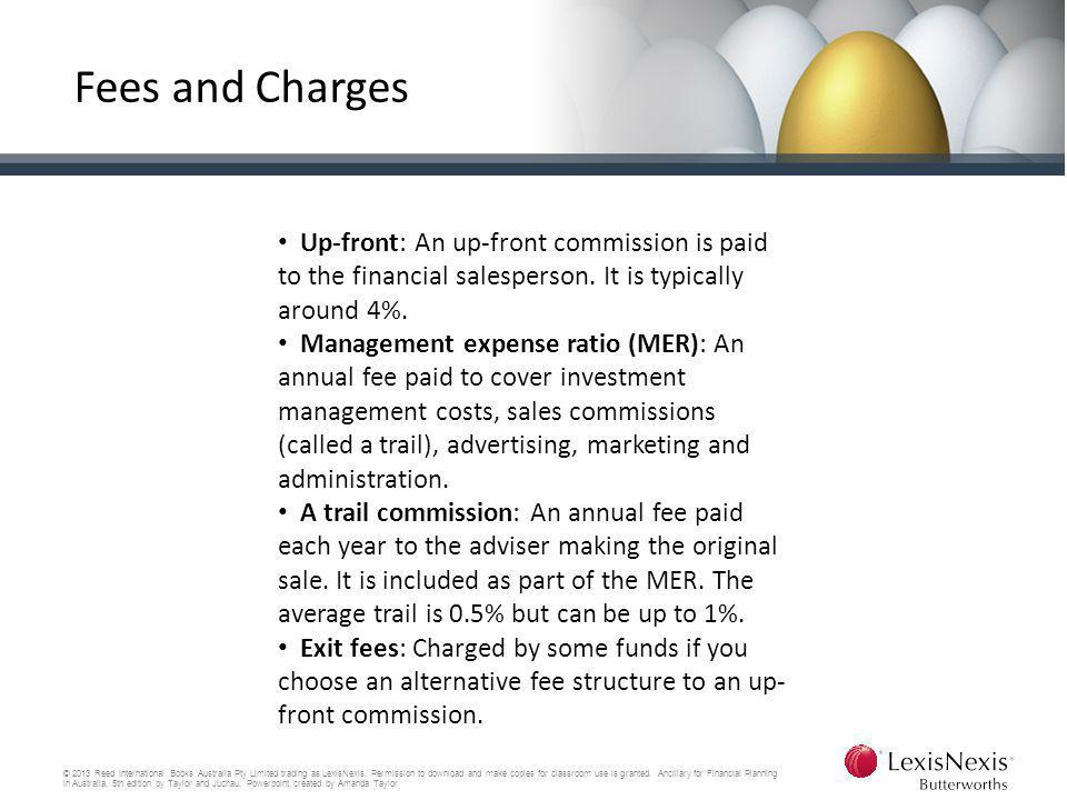 Fees and Charges Up-front: An up-front commission is paid to the financial salesperson. It is typically around 4%.