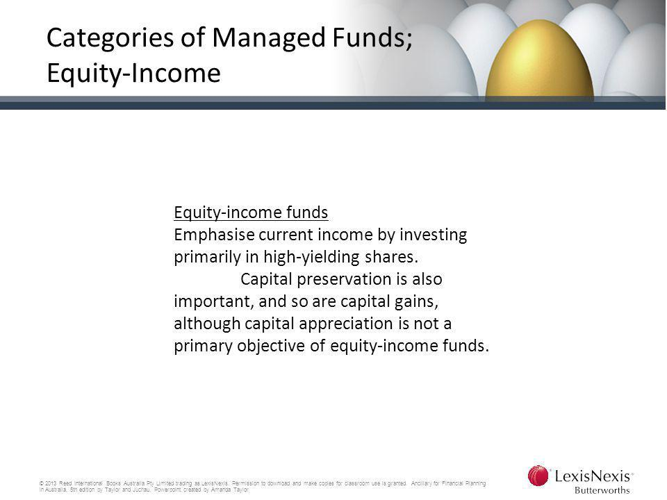 Categories of Managed Funds; Equity-Income