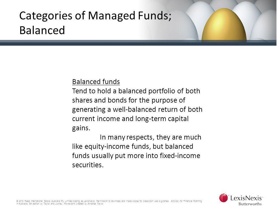 Categories of Managed Funds; Balanced