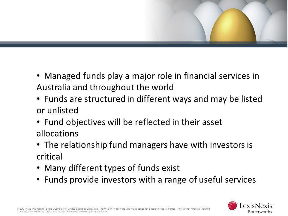 Funds are structured in different ways and may be listed or unlisted