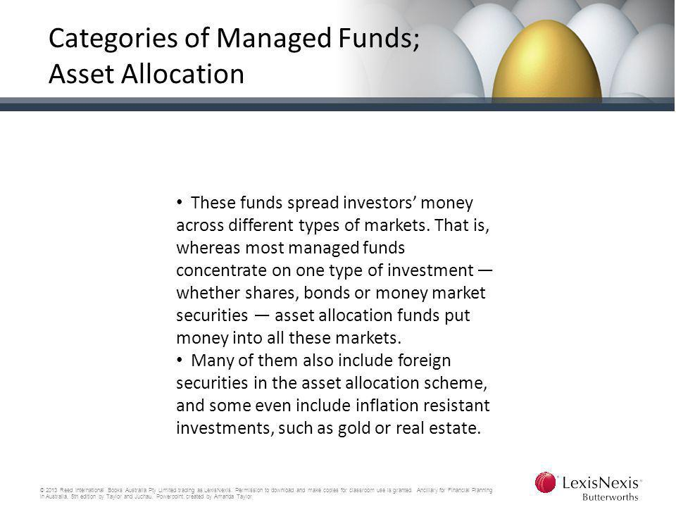 Categories of Managed Funds; Asset Allocation