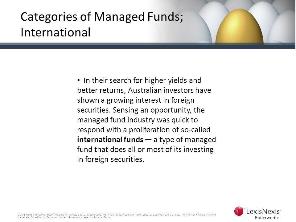 Categories of Managed Funds; International