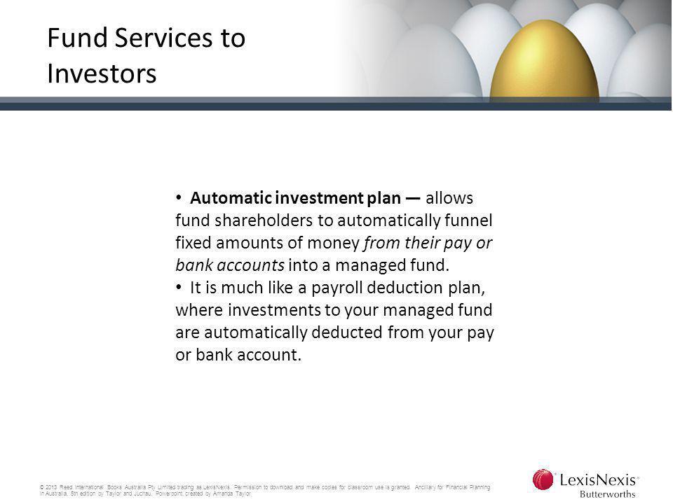 Fund Services to Investors