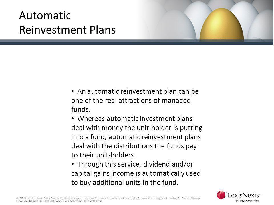 Automatic Reinvestment Plans