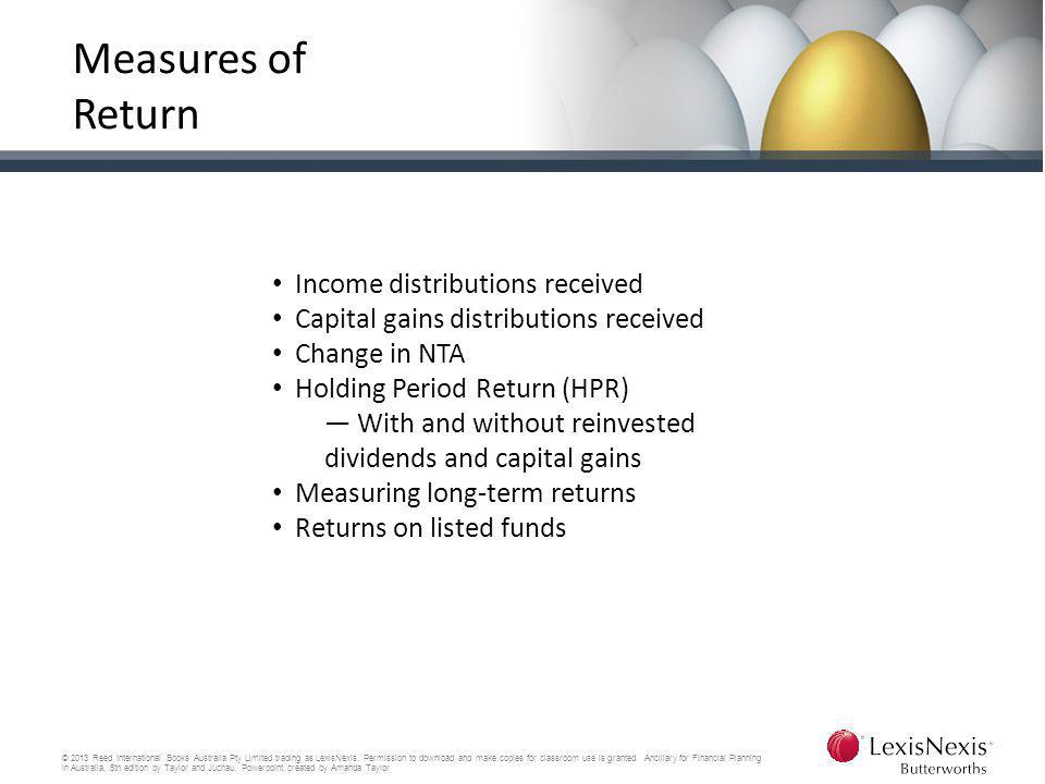 Measures of Return Income distributions received
